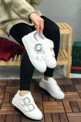 Sneakers Beyaz Taşlı